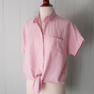 Madewell buttondown pink top size s